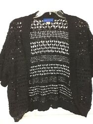 Simply Styled By Sears Womens Black Knit Short Cardigan EUC Size XL $8.00