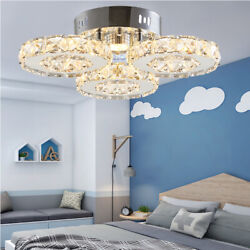 Crystal Ceiling Lamp Modern LED Chandelier Contemporary Hanging Light Fixture $49.88