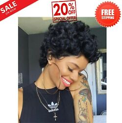 None Lace Front Wigs For black WomenShort Bob Curly Human Hair Wigs 100% Virgin