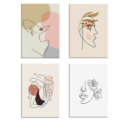 4pcs Women Abstract Canvas Wall Art Painting Pictures Home Hanging Picture Decor $14.99