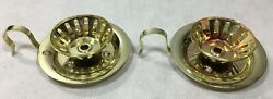 Pair Brass Candle Holders Finger Handle Drip Tray $7.95