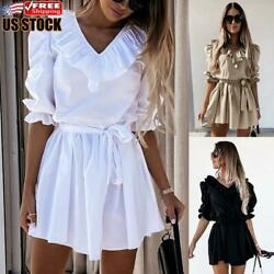Women#x27;s Summer Casual Ruffle Mini Dress Ladies Sexy V Neck Holiday Party Dresses $17.69