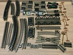 N scale Mixed Track Lot: Atlas Short Straits Curves End Stops Crossings Poles $54.99