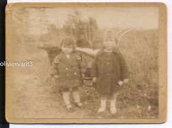 Vintage photo 2 little girls by old pram on country trail children $4.90