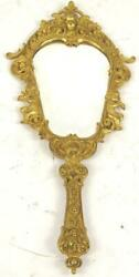 gold brass antique hand mirror putti 1910 $125.00