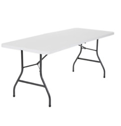 Portable Folding Table White Plastic Indoor Outdoor Camp Picnic Party Dining $48.99