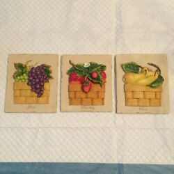 Turtle King Corp Set of 3 Decorative Kitchen Frames Fruit Scenes $10.00