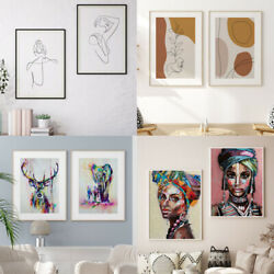 2PCS SET Wall Art Canvas Painting Abstract Hanging Line Print Posters Home Decor $10.99