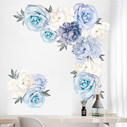 Floral Peony Wall Stickers Flowers Wall Decals Blossom Peony Rose Wall Posters $13.42