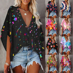 Women Casual V Neck Tops Short Sleeve T Shirt Floral Summer Holiday Loose Blouse $20.07