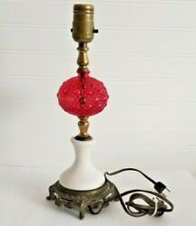 Vintage Lamp Red Glass Ball Cast Metal Base Table Lamp Retro Style $79.95