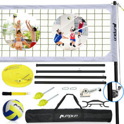 32#x27;X3#x27; Portable Outdoor Volleyball Net Set with Height Adjustable Poles Winch $147.49