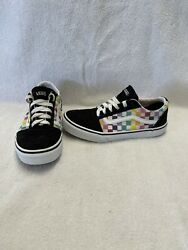 Vans Off The Wall Girls Black Multicolored Checkerboard Shoes size 4 Y $18.00