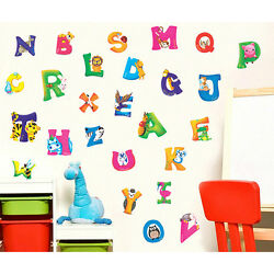 A Z Alphabet with Animals Kids Wall Stickers DIY For Home Nursery Decorations Fg $8.12