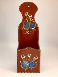 Vintage Tole Ware Wall Organizer Hand Painted Wood Mail Holder $19.99