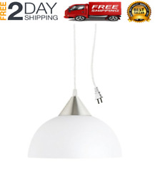 One Light Portable Hanging Plug In Pendant Shade Swag Hooks Ceiling Lamp White $26.78