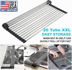 Kitchen Over the Sink Dish Drying Rack Roll Up Stainless Steel Colander Drainer $12.89