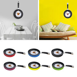 Unique Kitchen Theme Frying Pan Shaped with Fried Egg Silent Wall Clock Room $16.61