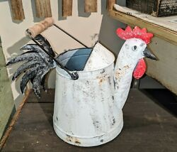 Rustic Farmhouse Country Kitchen Metal ROOSTER Watering Can Pail Bucket Décor $31.99