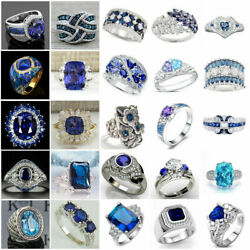 Gorgeous Blue Sapphire Jewelry 925 Silver Ring Women Engagement Rings Size 6 10 C $3.48