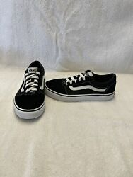 Vans Off The Wall Girls Boys Black white Shoes size 2.5 Y $18.00