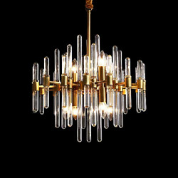 SILJOY Modern Crystal Chandelier Gold Pendant Light Fixture with Brass Base for $149.04