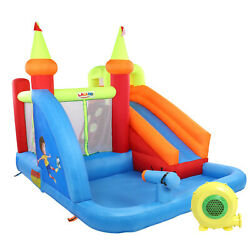 Inflatable Bouncer Water Slide Bounce House Castle Splash Pool with 480w Blower $318.99