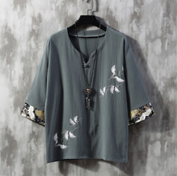 Summer Chinese style fairy crane embroidery loose men#x27;s cotton linen T shirt $19.99