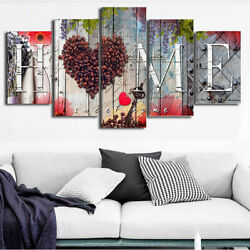 5Pcs Set Wall Painting Love Heart Home Canvas Picture Living Room Bedroom Decor $10.45