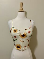 Womens NEW Yellow sunflower print Strappy Crop top. Size S. Romwe $7.00