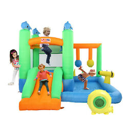 Inflatable Bounce House Kids Castle Dolphin Theme Bouncer for Outdoor w Blower $245.99