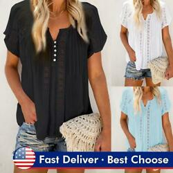 Ladies Boho Hollow Out Tops Tee Women Summer Short Sleeve Casual Blouse T Shirt $16.52