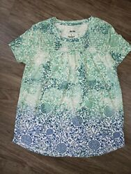 Sonoma Boho Blue White Turquoise Casual Top Rayon Blend Beachy Summer Floral SM $9.99