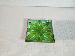 Vintage Dated 1965 Enamel over Metal Square Plate Green Flower Signed 5#x27;#x27; W $36.00