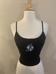 Womens NEW Black Blue Floral Ribbed Crop Top Camisole. Size S. Romwe $7.00