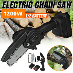 4 inch 1200W One Hand Saw Woodworking Electric Chainsaw Wood Cutter Cordless Set $36.99