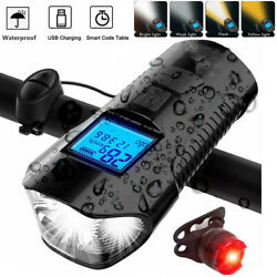 LED Bike Light with Speedometer USB Rechargeable Bicycle Front Rear Headlight US $15.99
