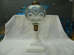 Early Antique Whale Oil Kerosene Lamp Stand Etched Grapes Font MG Base $125.00