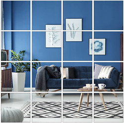 Aneco 16 Pack Removable Mirror Wall Sticker Self Adhesive Square Mirror DIY Wall $17.99