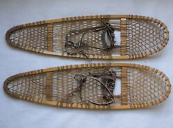 Northwoods Brand Wood Leather SNOWSHOES Made Canada SAFESPORT CO. 10quot; X 36quot; NICE $59.95