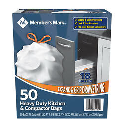 Member#x27;s Mark Heavy Duty Kitchen and Compactor Bags 18 gallon 50 ct. $13.97