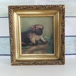 Antique Victorian Oil Painting Puppy with Bug Deep Shadowbox Gilt Gesso Frame $199.00