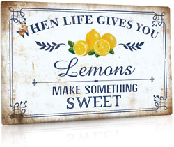 Putuo Decor Lemon Kitchen Decor Farmhouse Wall Sign for Dining Room Living Roo $14.99