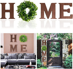 Huinsh Home Letter Decorative Sign Wall Hanging Wooden Home Signs with Green Wre $36.99