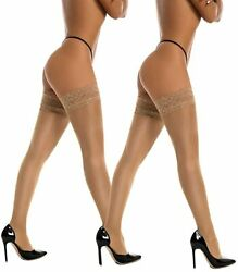 2 Pairs Thigh High Stockings Silicone Lace Women Socks $9.19