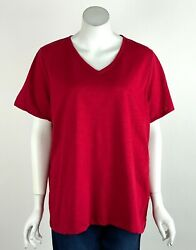 Talbots Woman Knit Top T Shirt V Neck Short Sleeves Red Plus Size 2X New $21.99
