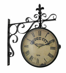Zeckos Double Sided Dodge City Station Hanging Wall Clock $77.99