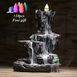 Mountains River Waterfall Incense Burner Ceramic Holder Fountain Home Living $30.66
