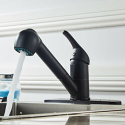 All Copper Kitchen Faucet Single Handle Pull Sprayer Spring Black Faucet $38.69