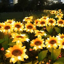 10 Pcs 10 LED Sunflower Solar Powered Lawn Stake Lamps Waterproof Outdoor Lights $66.98